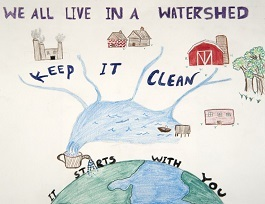 Drawing of the water connection between home and community, lakes and oceans.