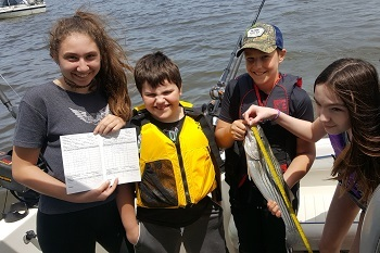 3 girls and 2 boys are on a boat. The girl on the left is holding a logbook and the boy in the middle is holding a striped bass.