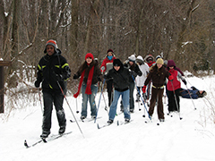 Children learning to cross country ski at Reinstein Woods