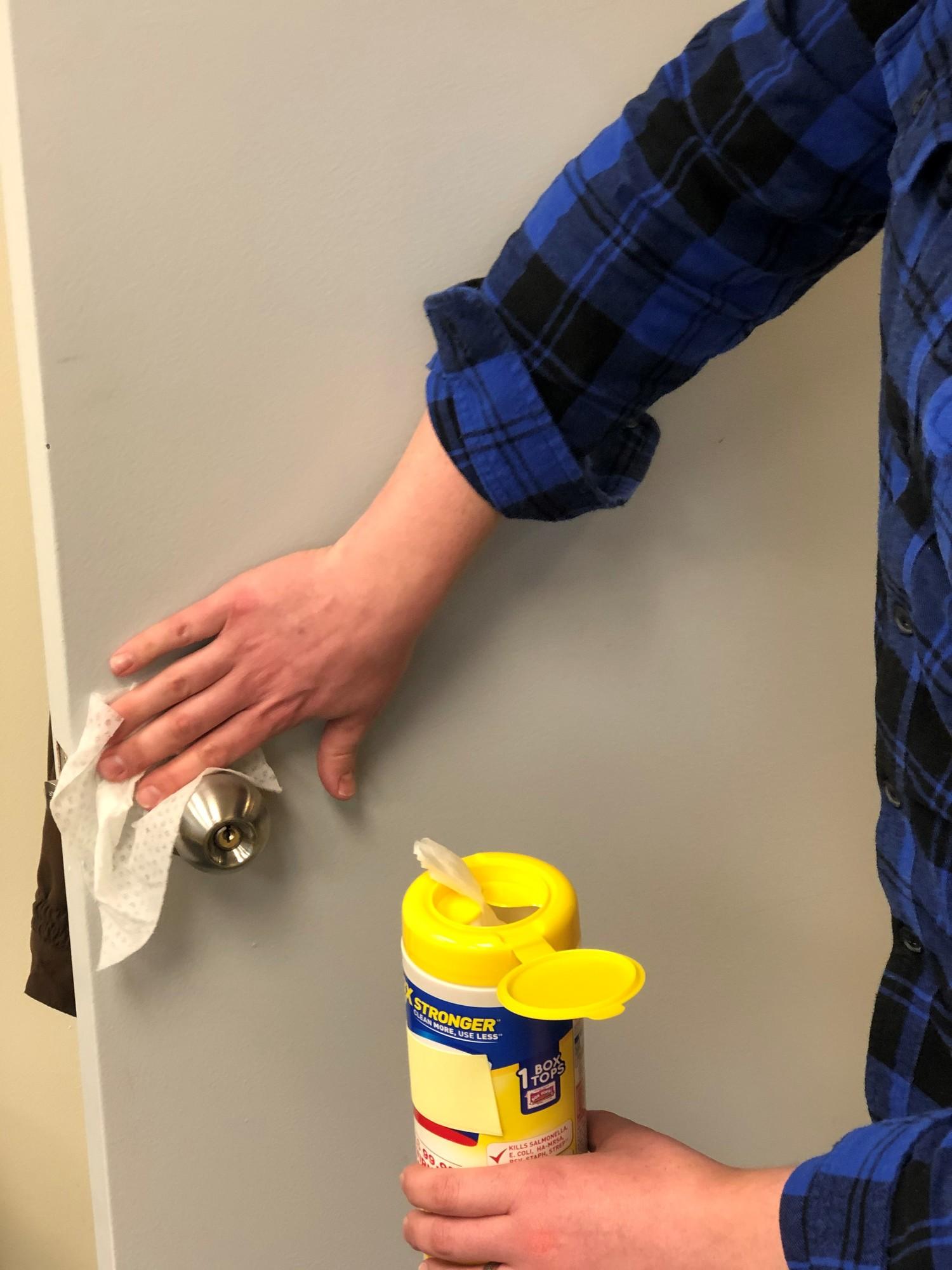 disinfection of a doorknob