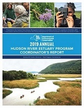 2019 Hudson Rive report cover shows a large photo of kayakers on the Hudson