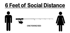Fishing rod between two people demonstrating 6 feet of distance
