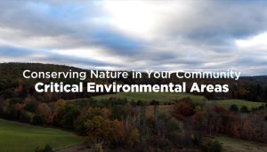 Video screenshot with play arrow. Title: Conserving Nature in Your Community: Critical Environmental Areas