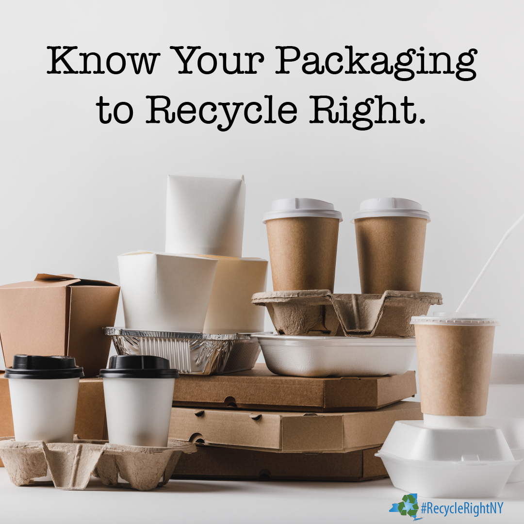 An image reminding people to think about what type of packaging is in their hands before putting it in their recycling bin