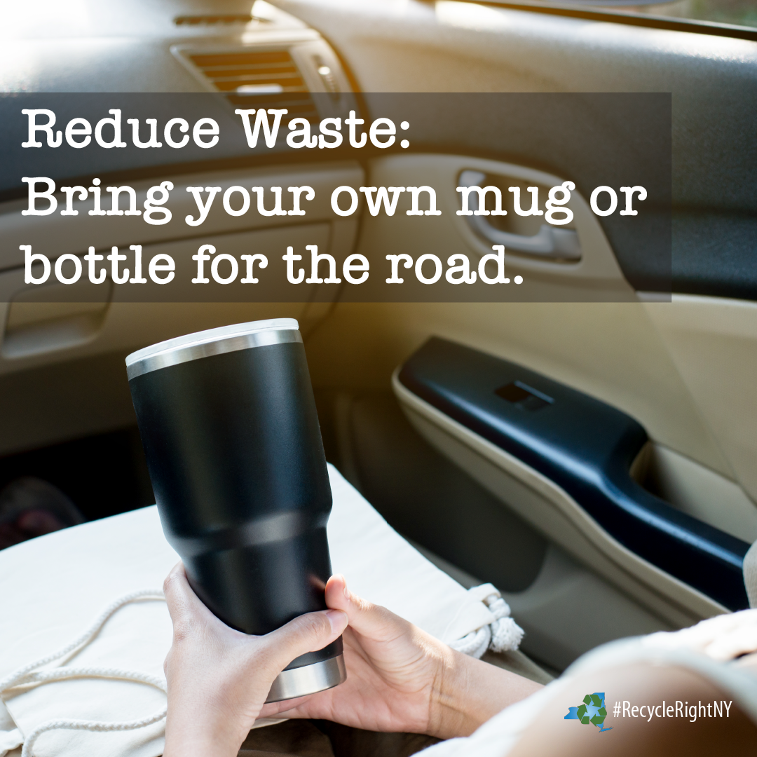 Bring your own refillable mug or cup to reduce waste while traveling
