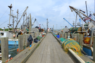 Commercial fishing dock with vessels