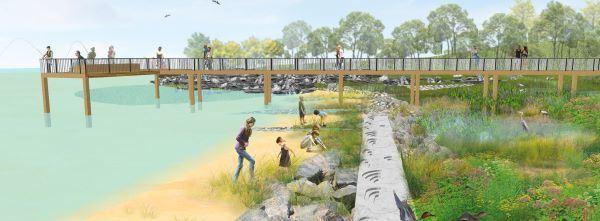 Design drawing of a vegetated marsh area near a beach. There is a long fishing pier in the drawing.