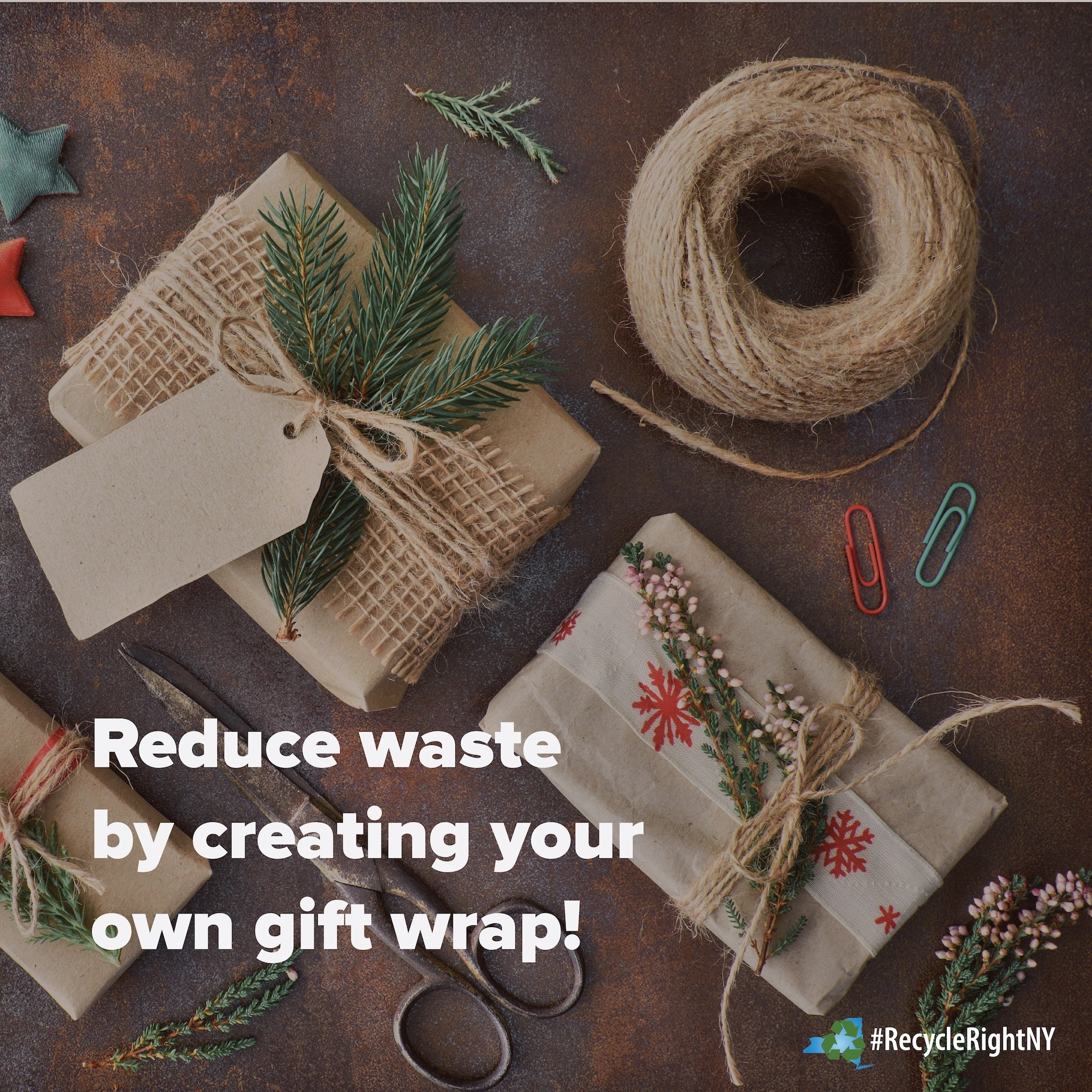 image depicting how to reduce waste by creating your own gift wrap from items you have available from items like paper bags and twine