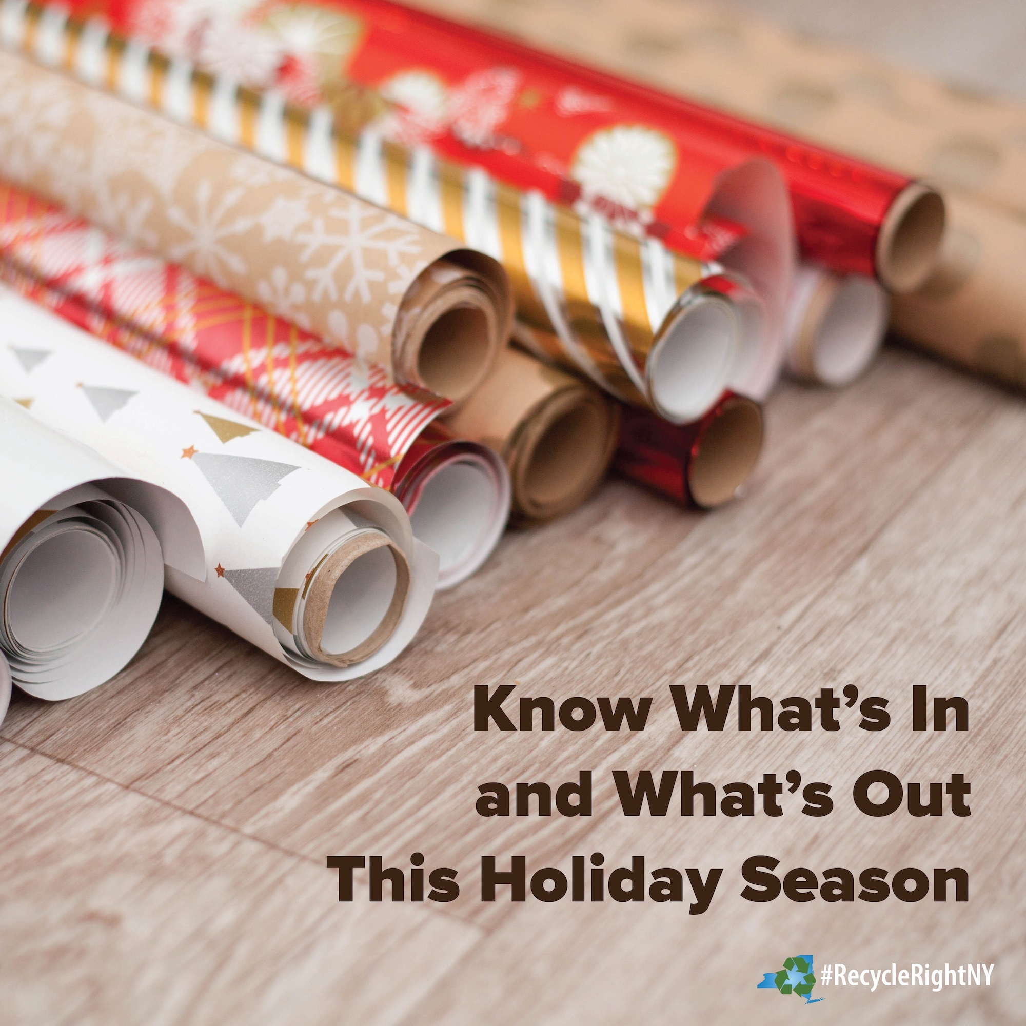 different types of wrapping paper suggesting make sure you know which types  can be put in your recycling bin and which ones cannot