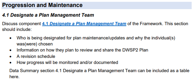 An excerpt from section 4.1 of the DWSP2 Plan Template