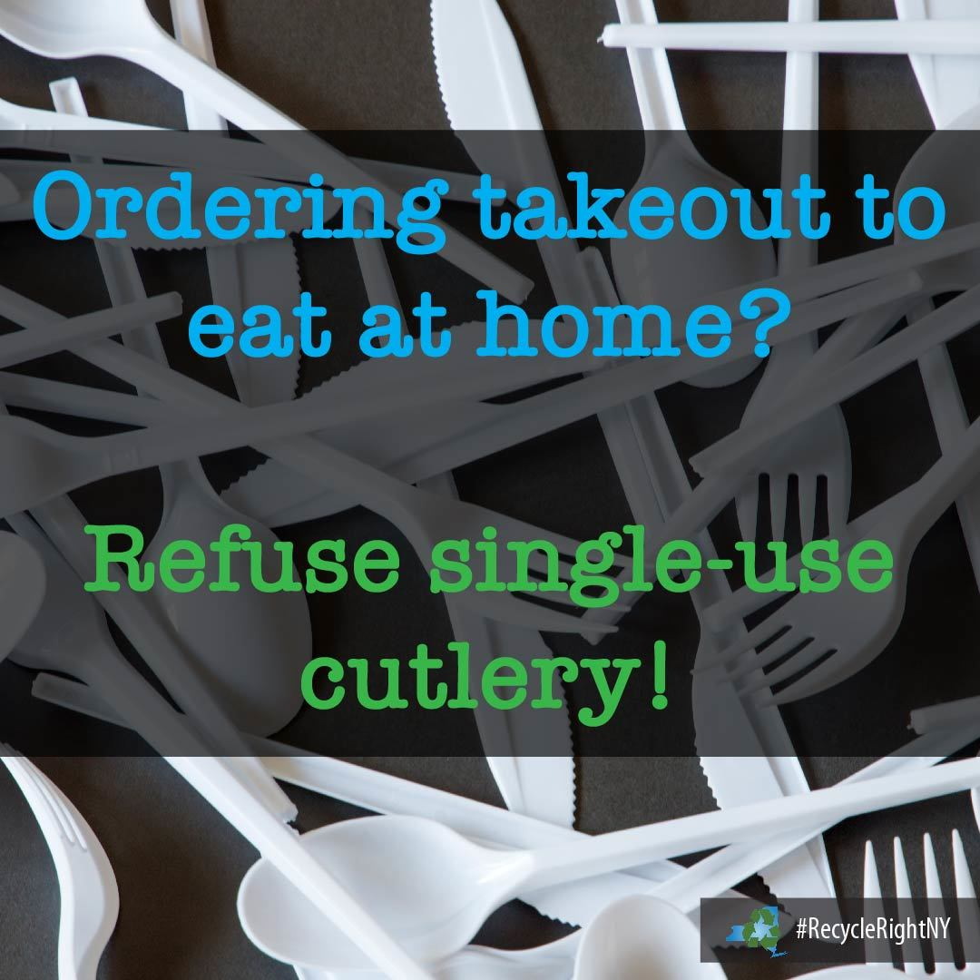 image with single-use cutlery stating