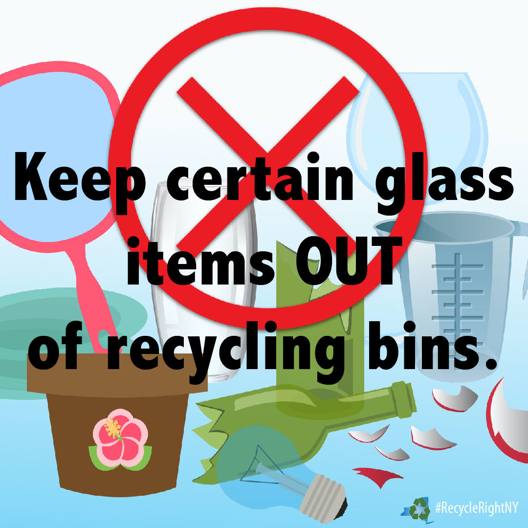 image showing what types of glass and ceramic should not be put in your recycling bin