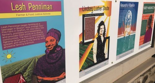 This is a photo of 4 different posters depicting women who have made a difference as advocates for  food justice and climate action.