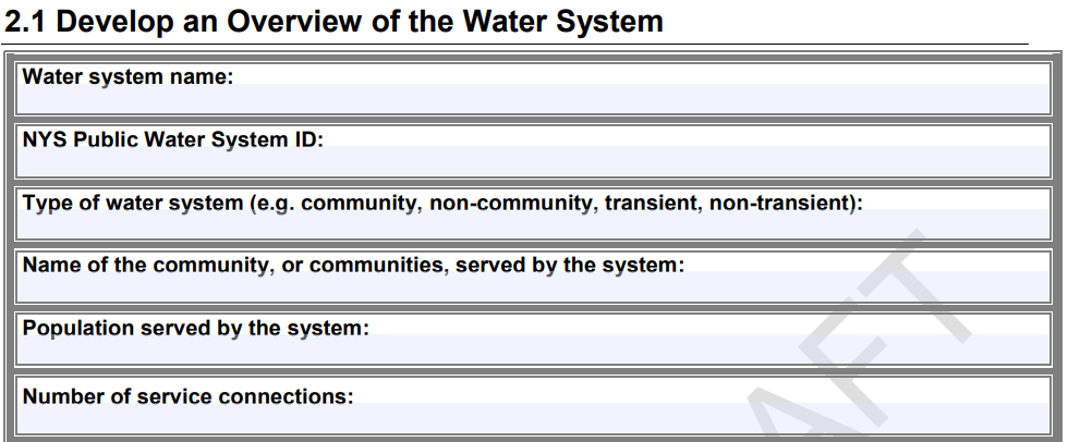 Develop an Overview of the Water System worksheet