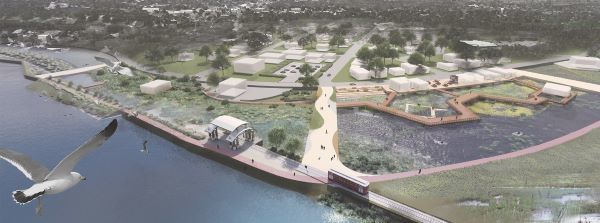 A birds-eye view of a flood-resilient design concept of the Kingston waterfront along the Strand.