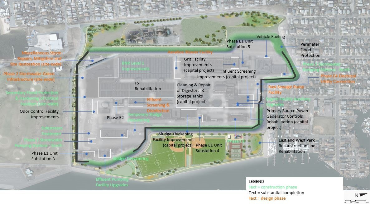 Bay Park Wastewater Facility Map with upgrade projects