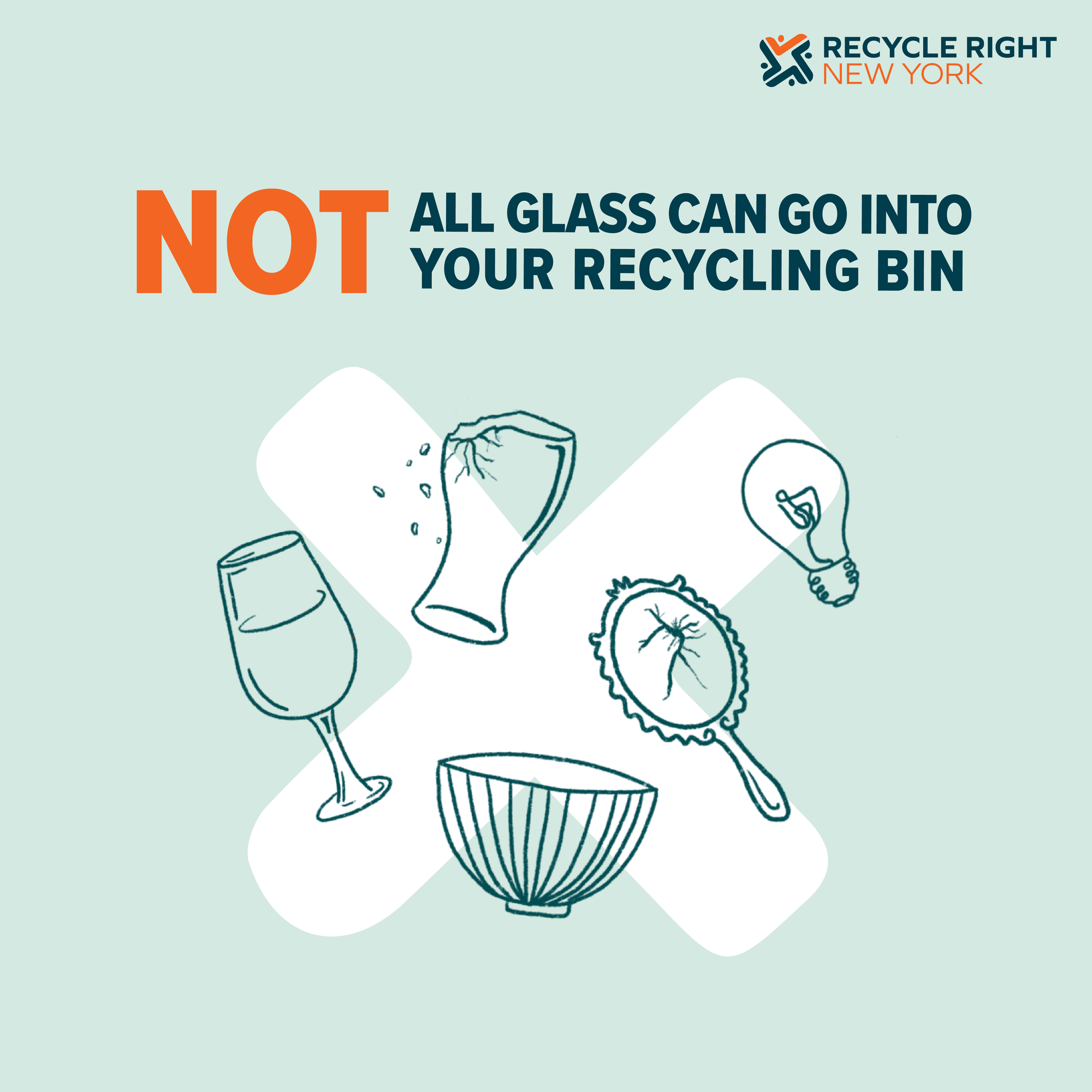 Not all glass can go in your recycling bin