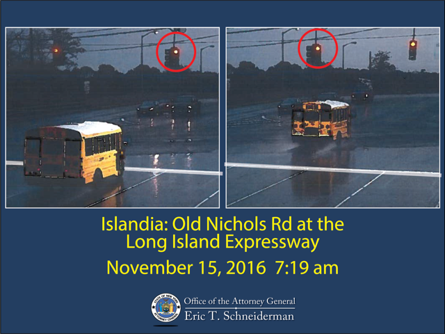 A school bus drives through a red light in Islandia.