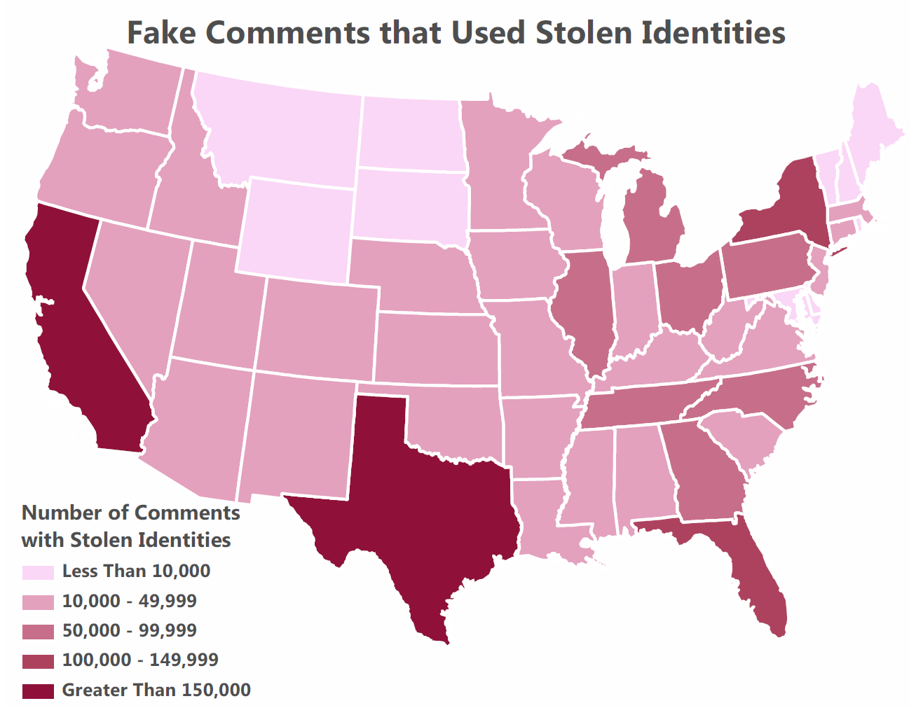 A map of the United States detailing the number ranges of comments with stolen identities by state.