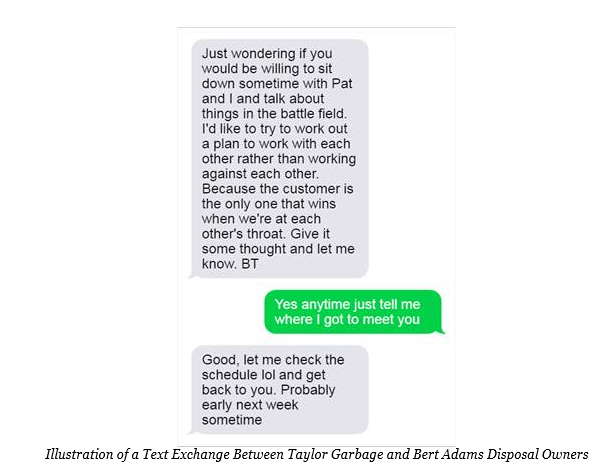 Illustration of a Text Exchange Between Taylor Garbage and Bert Adams Disposal Owners