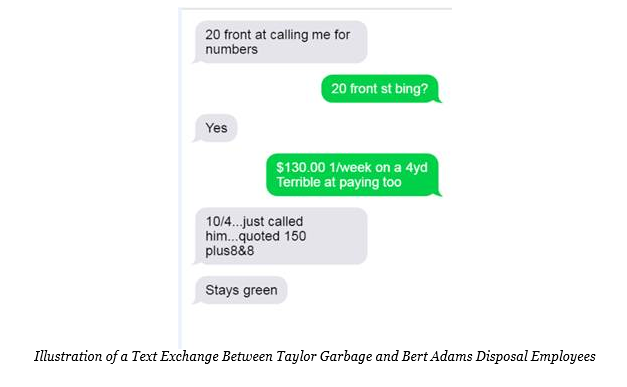 Illustration of a Text Exchange Between Taylor Garbage and Bert Adams Disposal Employees