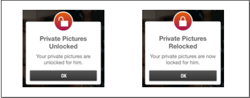 The Jack'd app contains settings to unlock and re-lock private pictures...