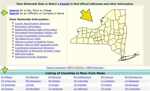 GUI of municipal profiles application noting search options by city, county, or town.