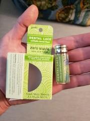 silk dental floss in compostable packaging.