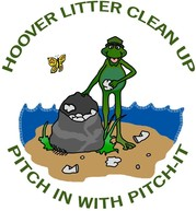 Hoover Clean Up cartoon image of frog with trash bag