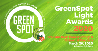 GreenSpotLight logo on green background and two fern leaves in the dot location of the logo