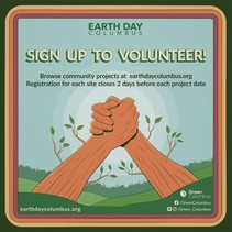 Earth Day Columbus logo of two trees that look like arms holding hands