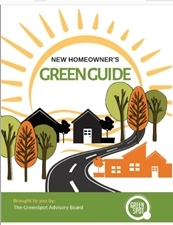 New home owner green guide cover with cartoonish sun in the background and homes in the foreground