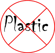 The word plastic with a slash through it