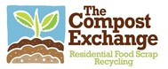 The Compost Exchange logo with a plant growing out of dirt