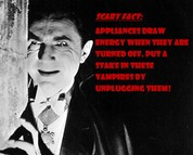 Bela Lugosi as dracula with a note about vampire appliances