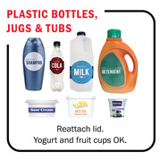 An image of the items that can be recycled; plastic bottles, yogurt containers, butter tubs, and fruit cups.