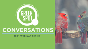 GreenSpot Conversations graphic with GreenSpot logo and two cardinals on a branch