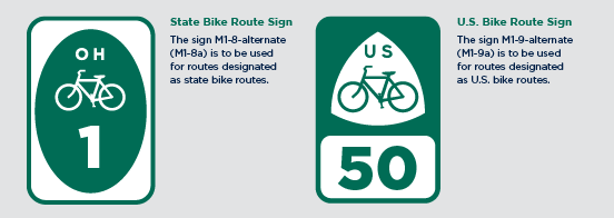 State and US Bike Route Signage Overview graphic