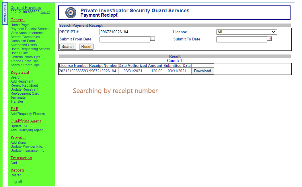 Payment Receipt Search 2