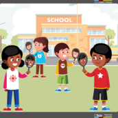 Illustration of students in front of a school building looking in hand mirrors and seeing themselves.
