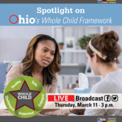 Adult talking to a student. Whole Child Framework logo overlays image.