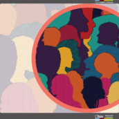 Illustration of a silhouettes of people in many multiple colors overlaying each other.