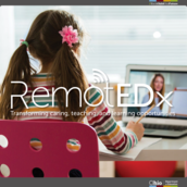 Girl using computer to learn virtually. RemotEDx logo overlays the image.