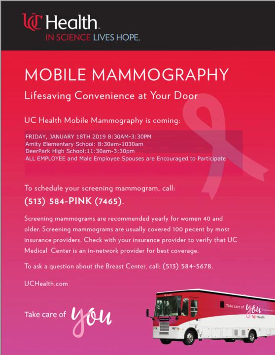 Deer Park to Host UC Health Mobile Mammography Van for