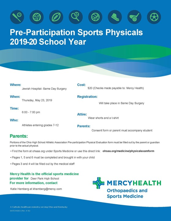 sports physical form ohio 2019  Mercy Health Offering Pre-Participation Sports Physicals for ...