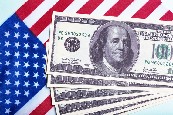 American Flag with $100 bills