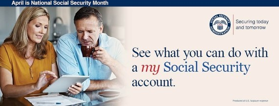 Graphic of woman and man looking at my Social Security on an ipad