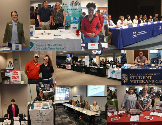 Collage of employers at tables at events