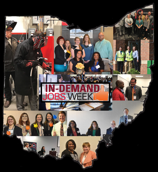 Ohio-shaped collage of OOD staff and partners during In-Demand Jobs Week