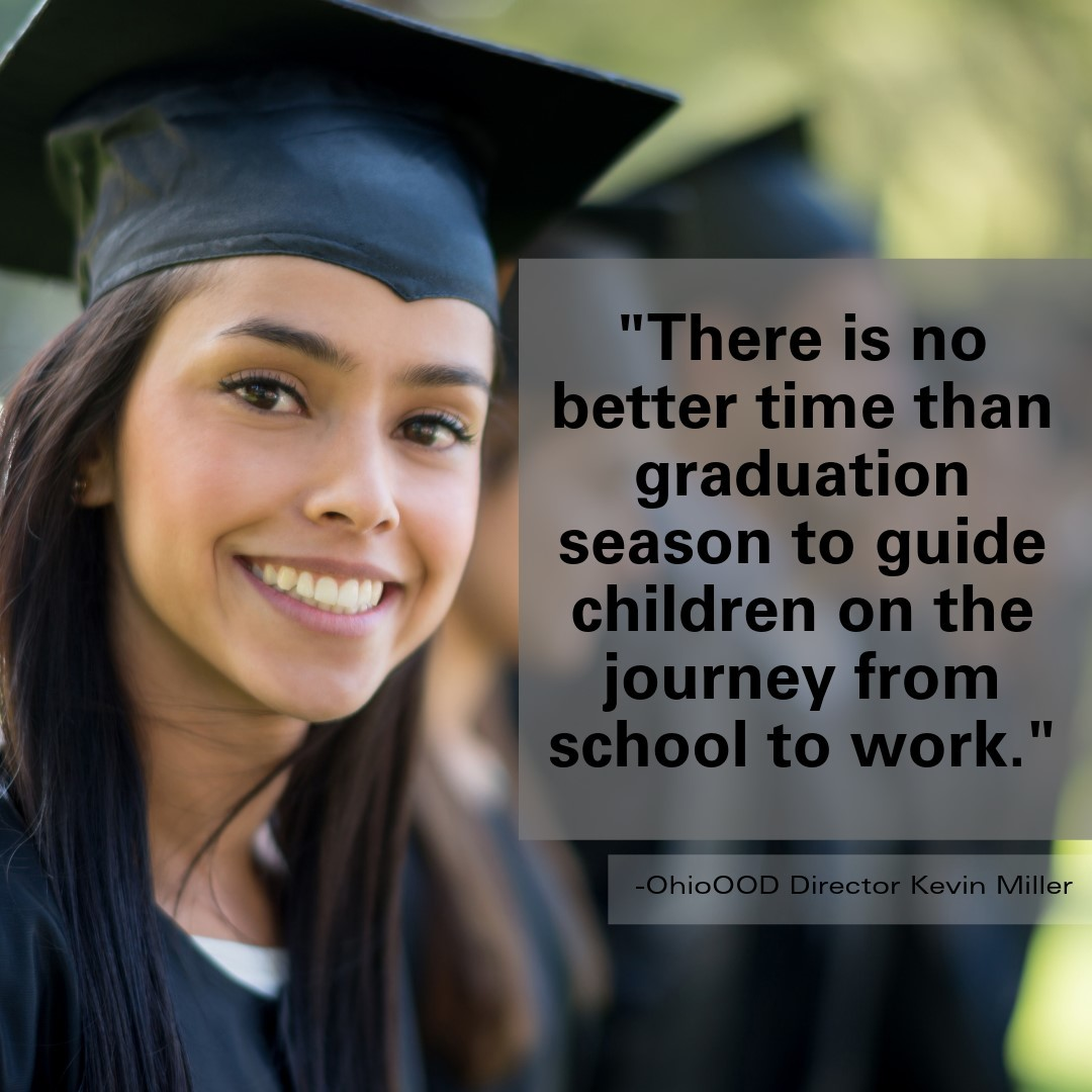 Girl in Graduation Cap and Gown with imposed quote by Director Miller